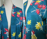 1950s Silk haori gown. Teal/ sea-green, mustard, hot pink maple leaves