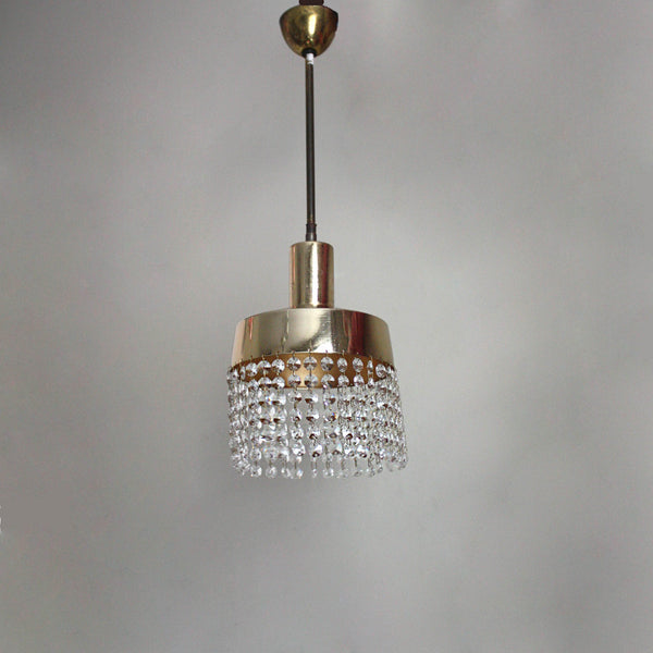 Midcentury ceiling light, gold, glass pendants