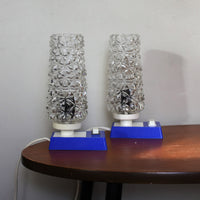 Pair of 1970s table lamps. blue bases, ice glass shades