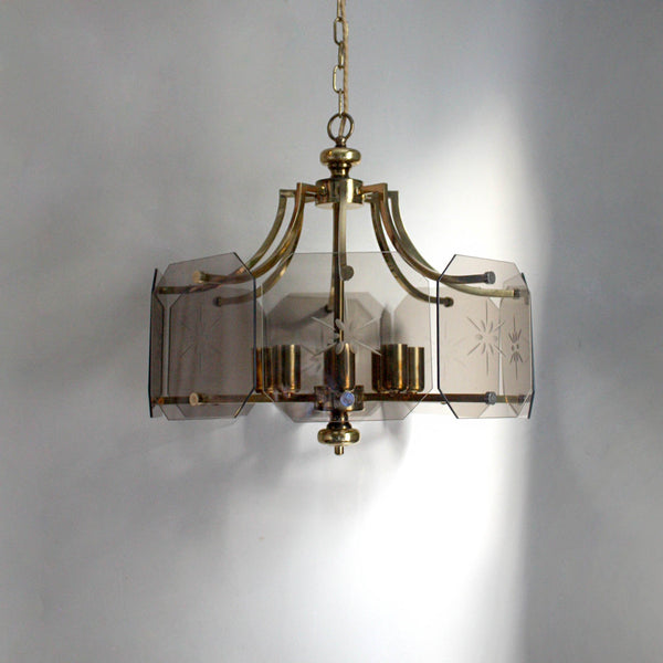 Midcentury 8-light chandelier in brass, smoky glass