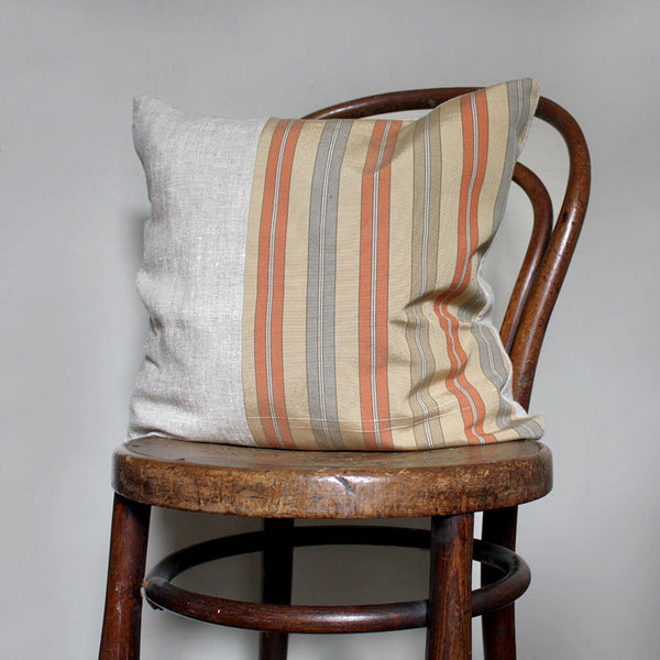 Natural striped cushion cover. Recycled kimono obi and linen