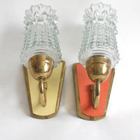 Pair of 1950s midcentury modern wall lights. Orange, Yellow, glass, brass