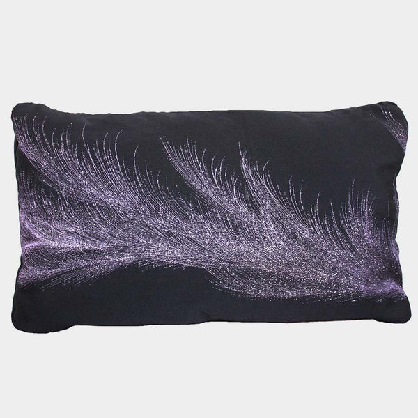 Moonlight Black Metallic Silk Cushion Cover. Recyc