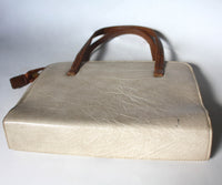 1970s handbag/ carrier bag/ laptop carrier, beige and brown