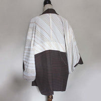 Vintage mocha brown textured silk haori jacket. Silk. Size S/M