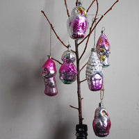 Hot pink Vintage Christmas Ornaments. Persons, House, Owls