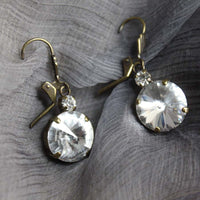 Crystal Antique Aged Bronze Dangling Earrings