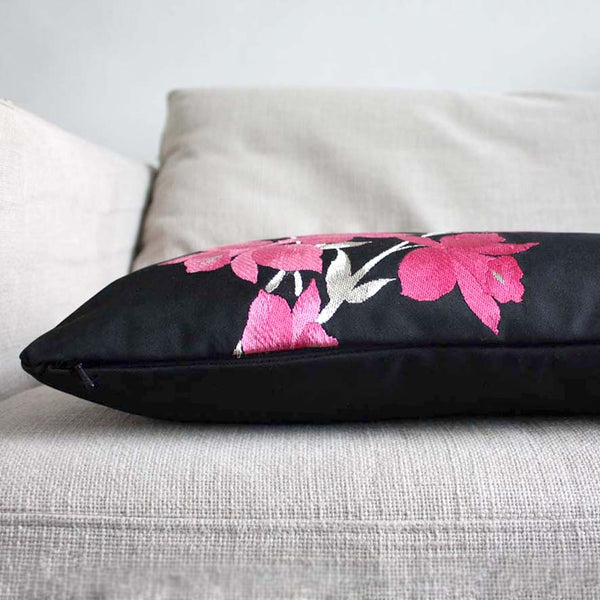 Pink Orchid Black Silk Decorative Pillow cover. Recycled Obi. 30x65cm 12x26''.