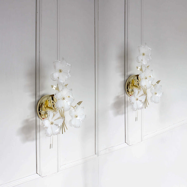 Pair of vintage flowers and gold Wall Lights