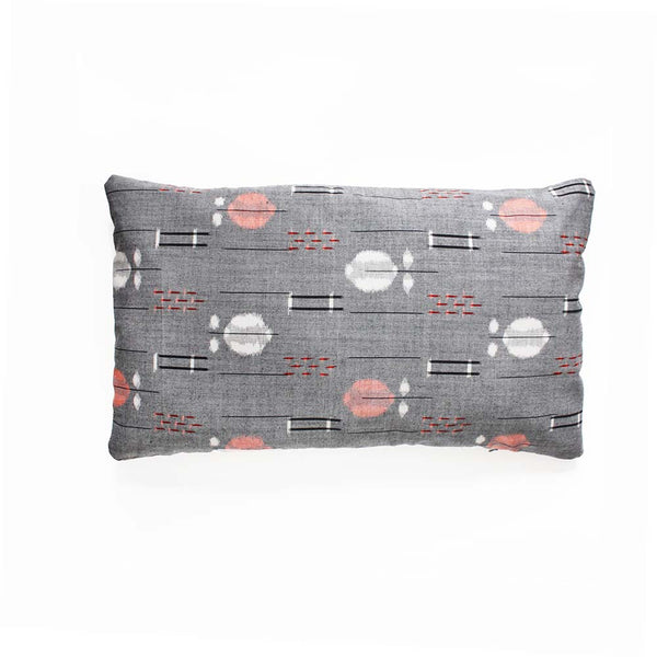 Grey white peach ikat Vintage Decorative Pillow Cover.