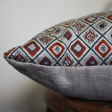 Lumbar Obi Cushion Covers. Grey, Geometric Red/ Blue. 30x60cm. 12x24''