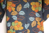Vintage wool kimono navy, shades of autumn. one size