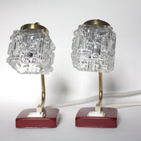 Red, brass, ice glass lamps. Mid-century Modern style