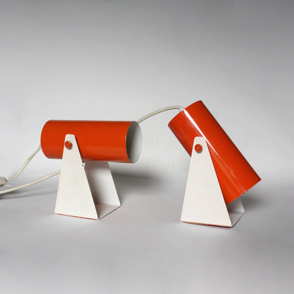 Pair of 1970s Orange white wall sconces/ wall lights. minimalist modern
