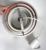 1960s modernist pendant light. Aluminium, white, red