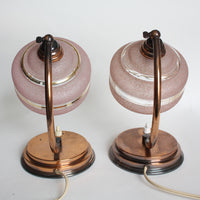 Pair of 1950s French Art Deco table lamps with pink glass lampshades