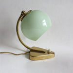 Art Deco bedside table lamp. Mint green glass lampshade, Triangular brass base