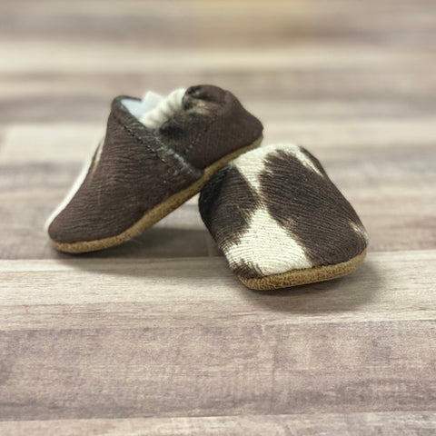 Faux Cow Hide Baby/Infant Moccasins