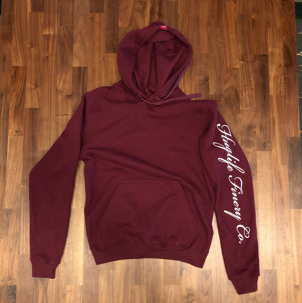 The Chris / Unisex Burgandy Hoodie / Classic White Huglife Sleeve Print