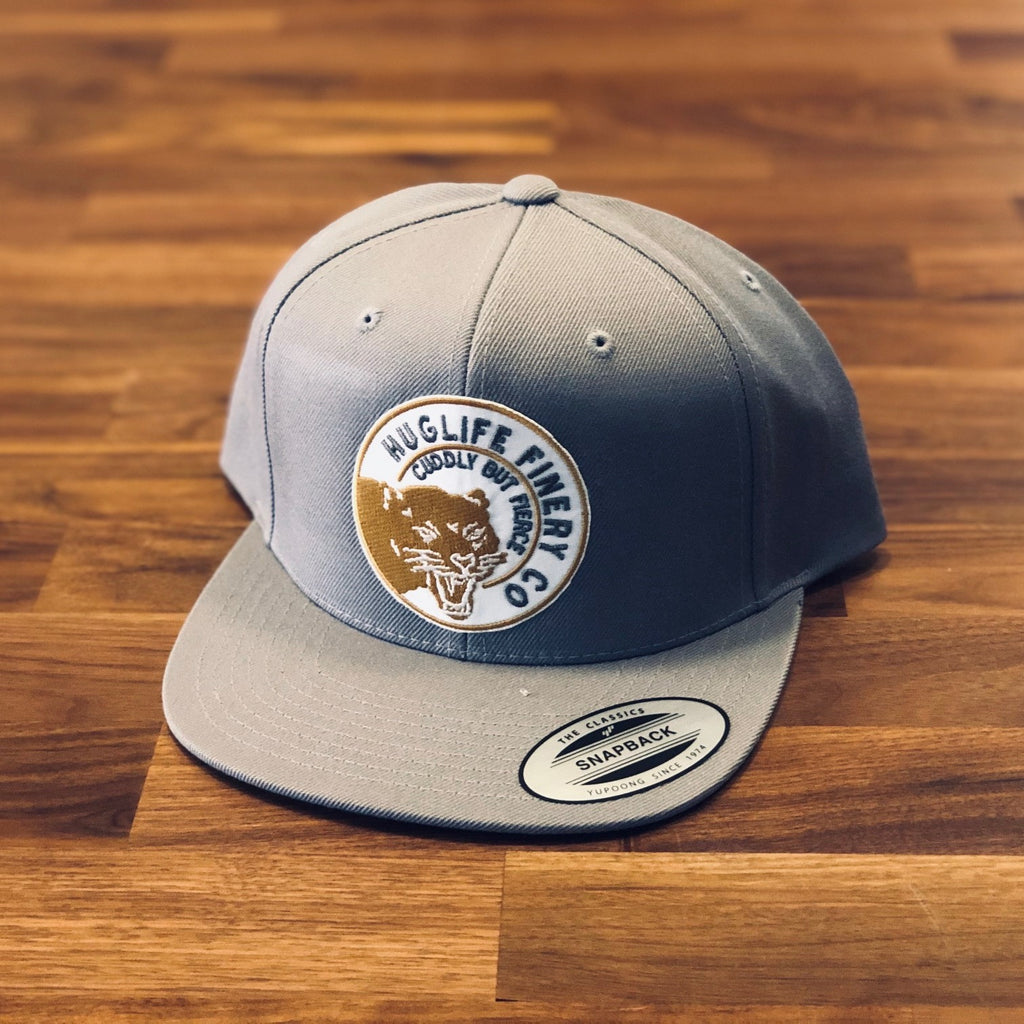 Silver Snapback / Gold and Grey Panther Patch