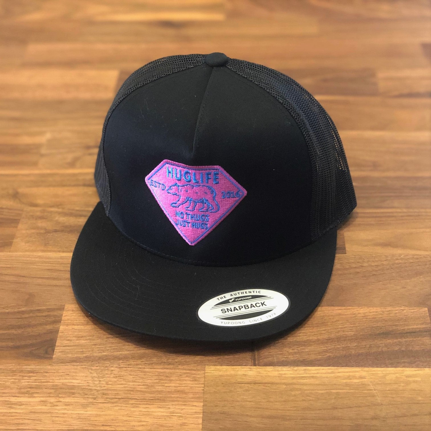 Black Trucker / Pink and Blue Diamond Bear Patch