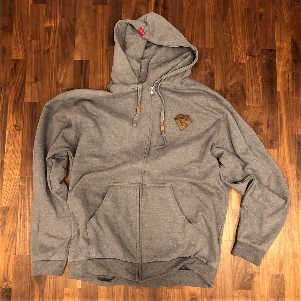 The Frankie / Zip-up Unisex Heather Gray Hoodie / Leather Diamond Breast Patch