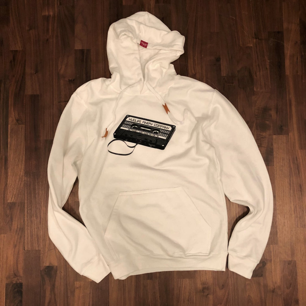 The Gena / Womens White Hoodie / Mix Tape Love Graphic