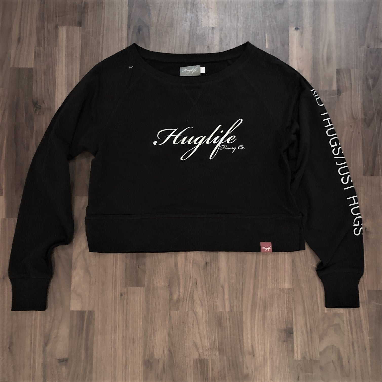 The Genny / Women's Crop Crewneck / Classic Huglife Front / No Thugs Just Hugs Arm