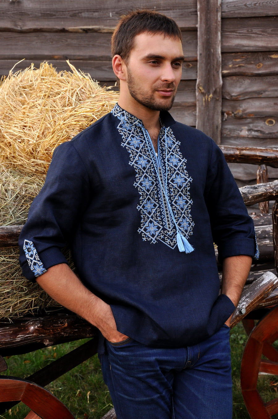 Dark blue embroidered men's shirt