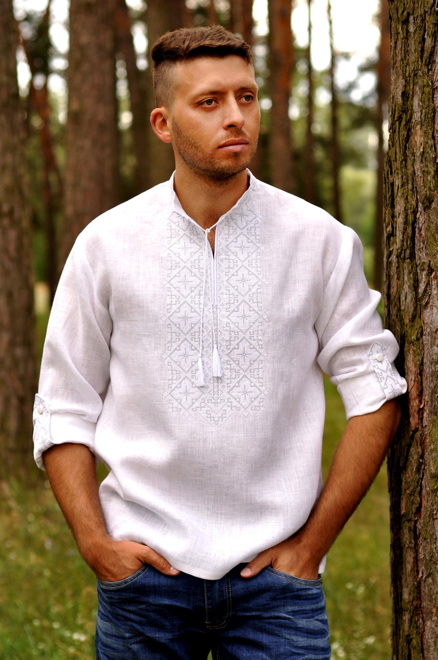 Men's wedding shirt with White on White embroidery