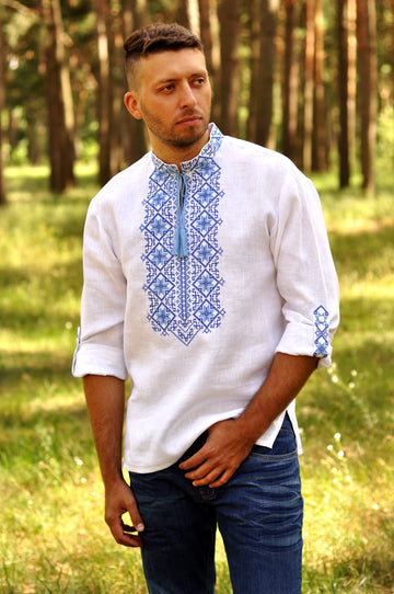 White embroidered men's shirt