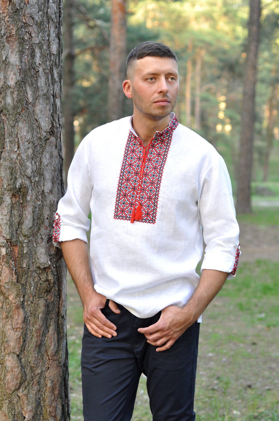 White embroidered shirt for a confident men