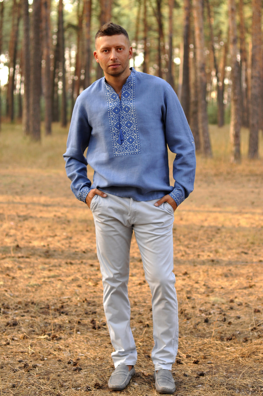 Embroidered denim style shirt