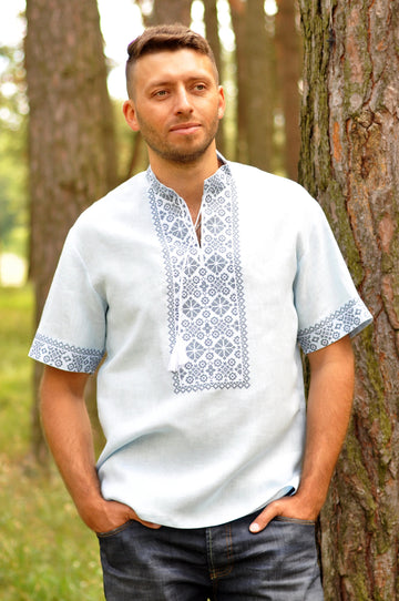 Light embroidered men`s shirt