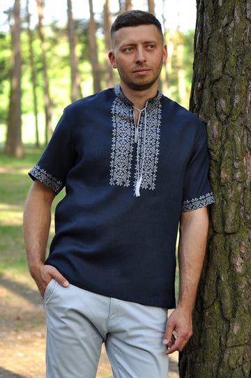 Dark blue linen short sleeve embroidered men's shirt