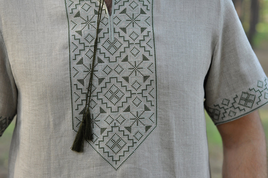 Embroidered short sleeve linen shirt