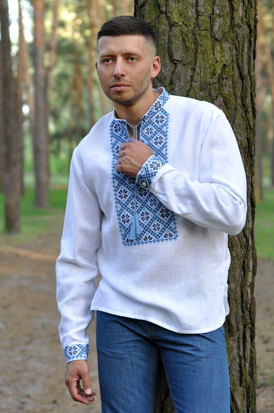 Modern linen talisman shirt with expressive embroidery