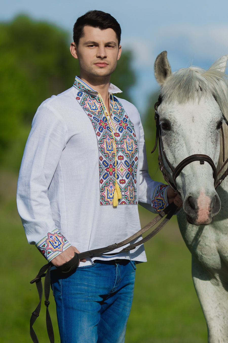 Men`s embroidered shirt with Ukrainian coat of arms