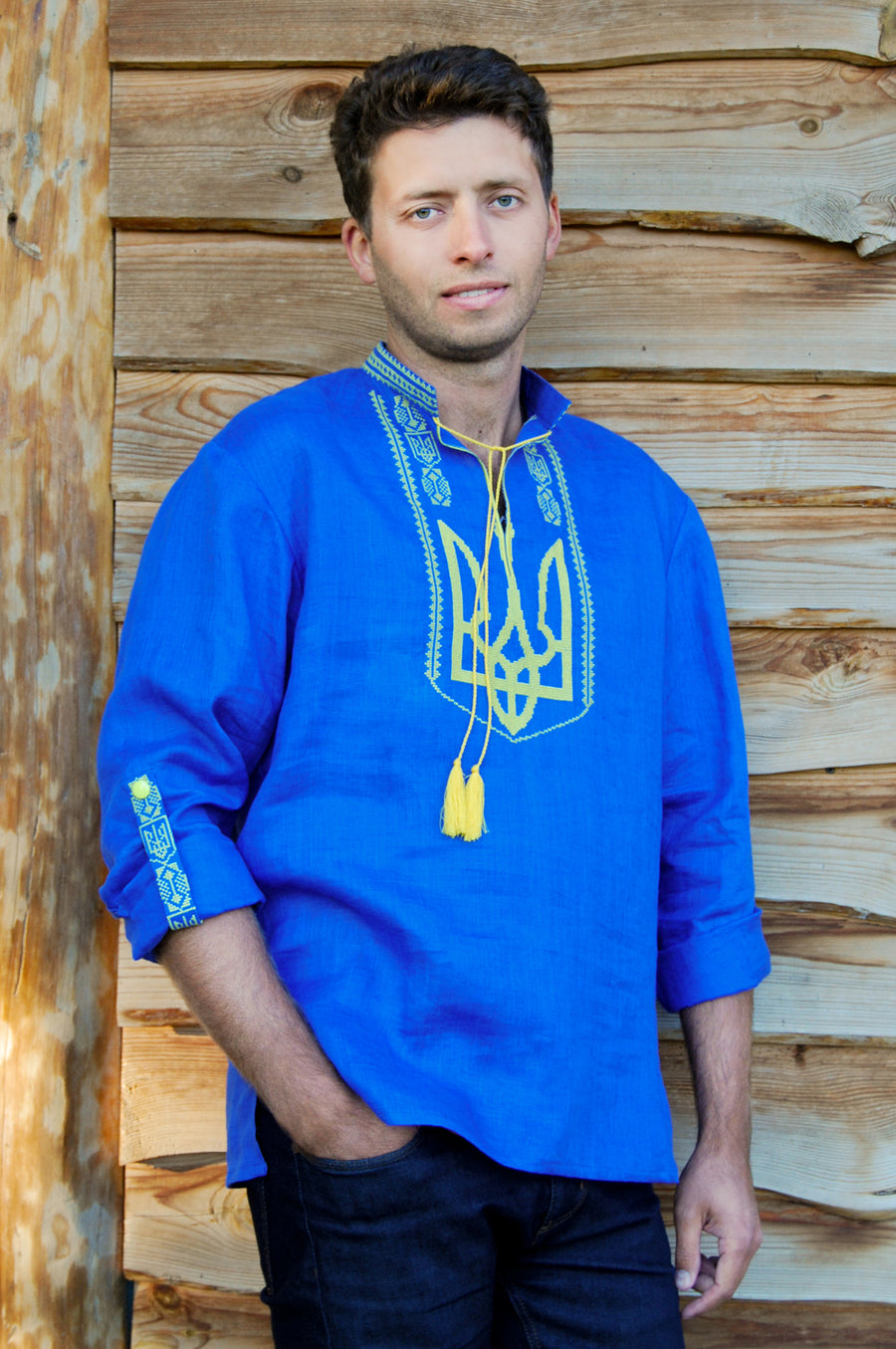 Men's embroidered shirt with Ukrainian coat of arms