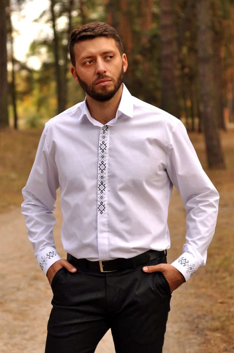Classic embroidered wedding white shirt for an elegant man