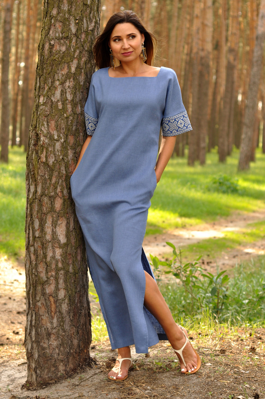 Long embroidered dolman sleeve dress