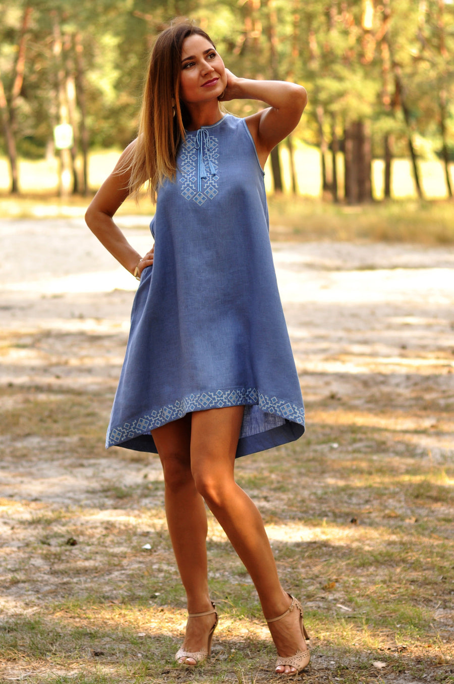 Flared American armhole embroidered dress