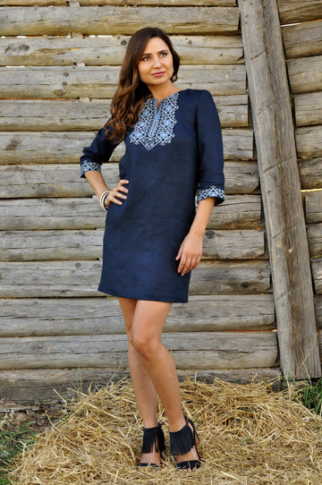 Short dark blue short embroidered dress