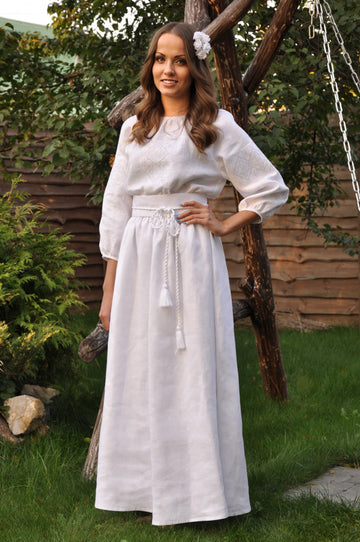 Ukrainian wedding dresses, White dress with delicate White on White embroidery