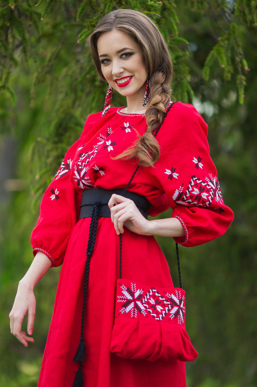 Red embroidery Ukrainian style dress