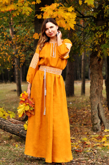 Maxi dress with mustard color embroidery made from natural linen