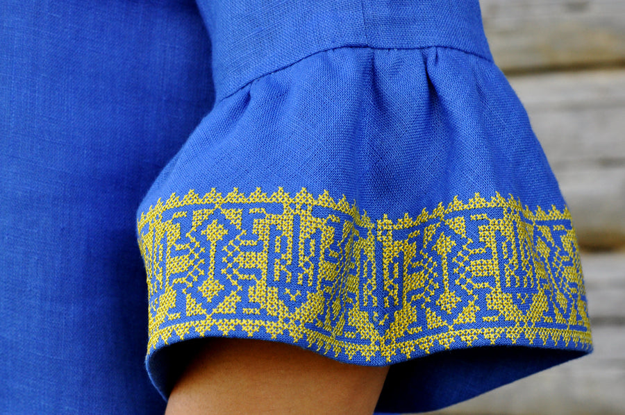 Embroidered blue dress in Ukrainian national style
