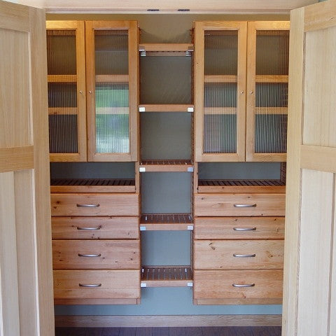 John Louis Home solid wood shelving design with double towers including drawers and glass doors, fixed shelves in between.