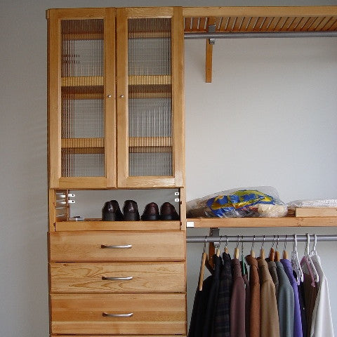 John Louis Home solid wood closet organizer with drawers and glass doors for bedroom closet.