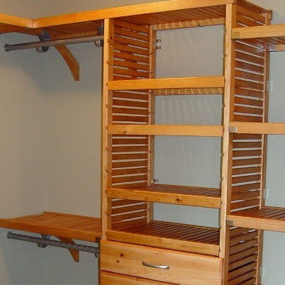John Louis Home solid wood closet organizer with drawers for bedroom closet.